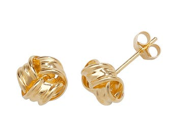 9ct Yellow Gold 6mm Twisted Ribbon Knot Stud Earrings