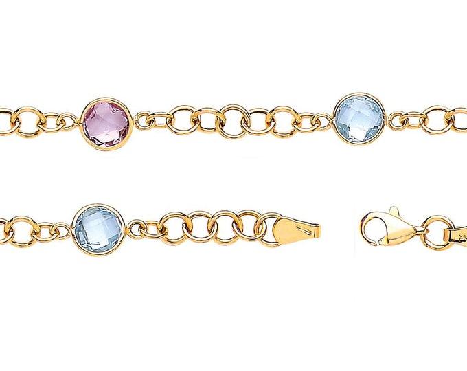 "Real Amethyst & Blue Topaz 9ct Yellow Gold 7"" Link Bracelet Hallmarked"