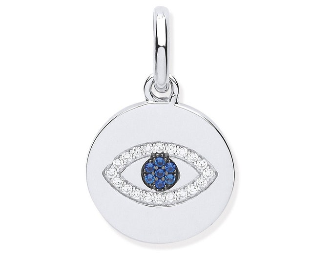 925 Sterling Silver Pave Cz  Blue Evil Eye 14mm Round Disc Pendant