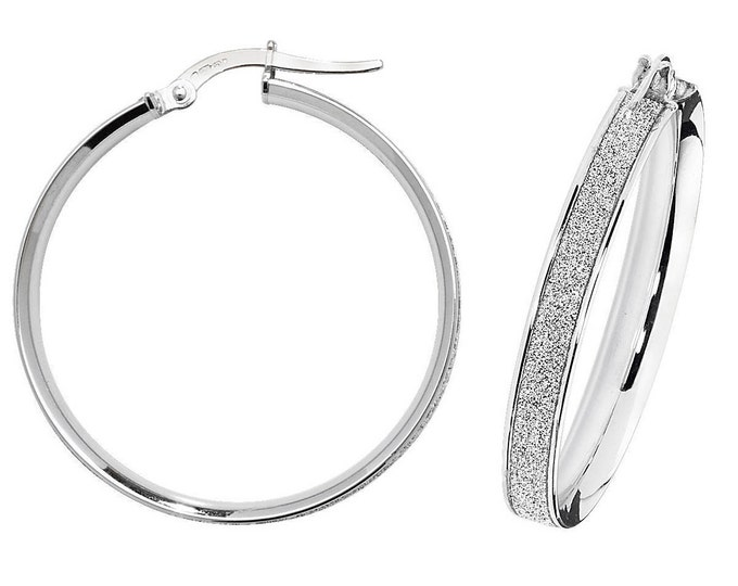 9ct White Gold Stardust Hoop Earrings 10mm 15mm 20mm 25mm 30mm 40mm 50mm