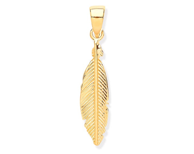9ct Yellow Gold Small 2.5cm Feather Charm Pendant - Real 9K Gold