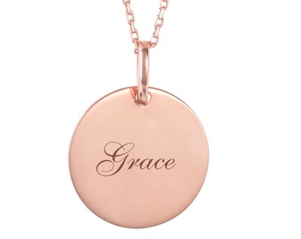 Personalised 2cm Round Rose Gold Disc Necklace - Customised Engraved Name Message Initials