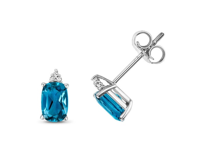 9ct White Gold Diamond & Cushion Cut 6x4mm London Blue Topaz Stud Earrings - Real 9K Gold