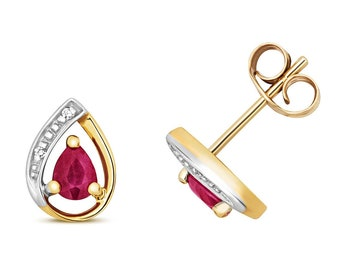 9ct Yellow Gold & Diamond 7x5mm Pear Cut 0.33ct Red Ruby Stud Earrings - Real 9K Gold