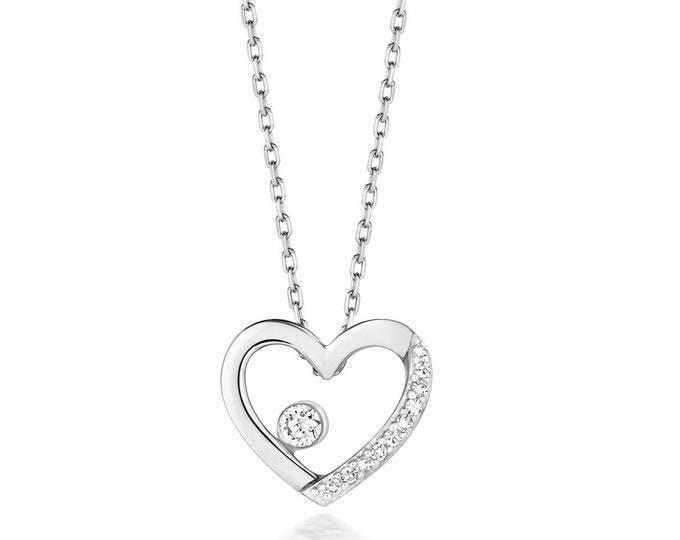 "9ct Gold 0.06ct Diamond Heart Shaped Pendant on 17"" Necklace - Rose Yellow White Gold"
