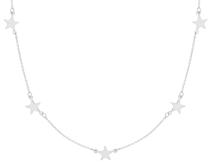 "Five Star Constellation Charm Link Chain 16""-18"" Necklace Rhodium Plated Silver"