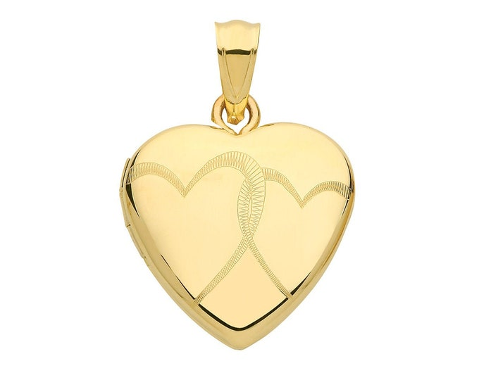 9ct Yellow Gold 16mm Two Entwined Hearts Engraved 2 Photo Heart Locket Hallmarked