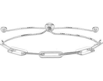 "925 Sterling Silver Paper Clip Link 7"" Friendship Toggle Pull Bracelet"