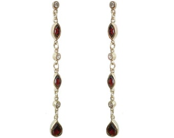 925 Sterling Silver Pear & Marquise Cut Real Garnet 5.5cm Chain Drop Earrings