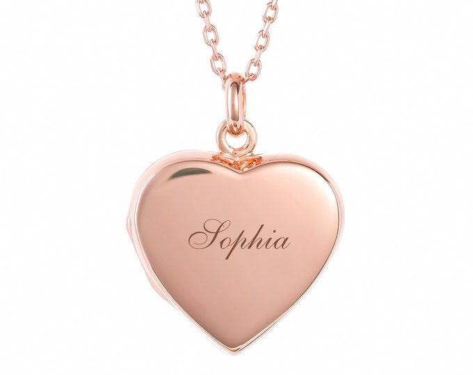 Personalised Rose Gold 2 Photo Flat Heart Locket - Engraved Name, Initials or Message