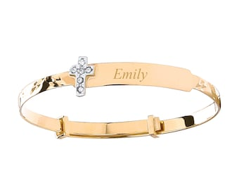 9ct Yellow Gold Cz Cross Baby Identity Bangle - Personalised Name & Message