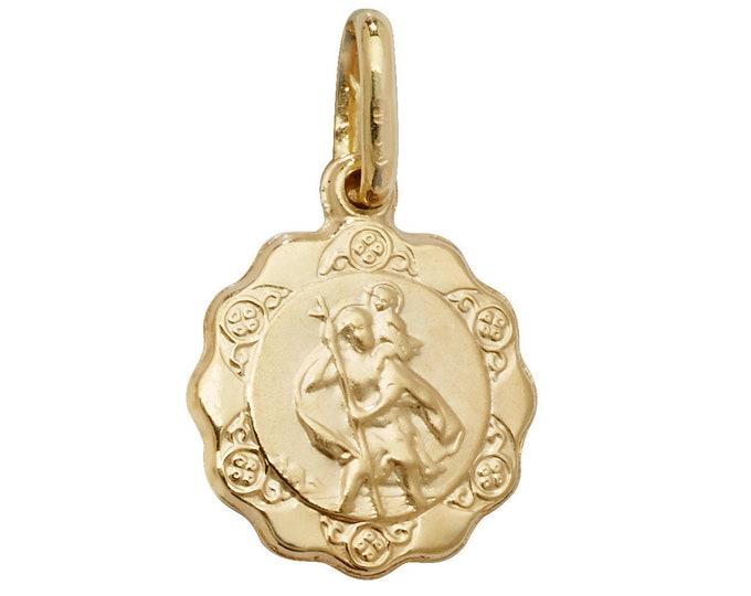 9ct Yellow Gold Scalloped Edge Hollow St Christopher Medallion Charm Pendant