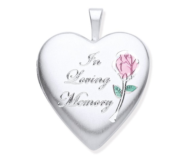 In Loving Memory Cremation Ashes Silver Heart Memorial Locket - Personalised Engraved Message