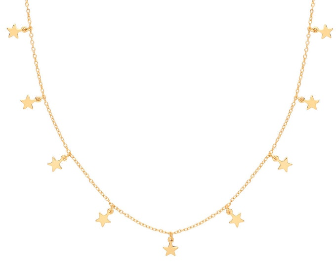 "Contemporary Interstellar Nine Star Drop Charm 16""-18"" Necklace Yellow Gold Plated Silver"