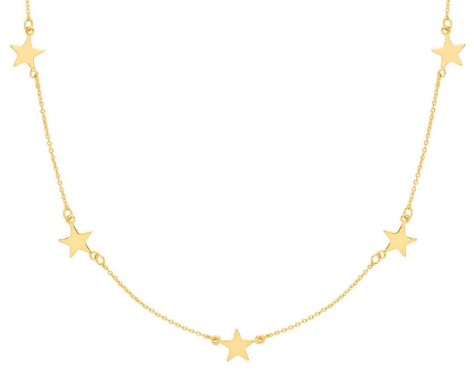 "Five Star Constellation Charm Link Chain 16""-18"" Necklace Yellow Gold Plated Silver"