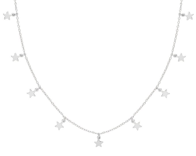 "Contemporary Interstellar Nine Star Drop Charm 16""-18"" Necklace Rhodium Plated Silver"