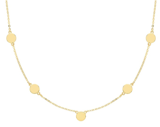 """9ct Yellow Gold Boho Gypsy Round Discs Chain 18"""" Necklace"""