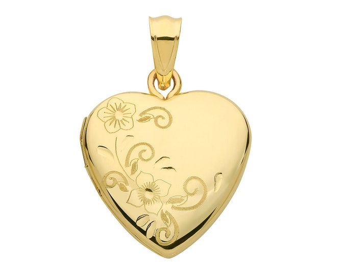9ct Yellow Gold 16mm Half Floral Engraved 2 Photo Heart Shaped Locket Hallmarked
