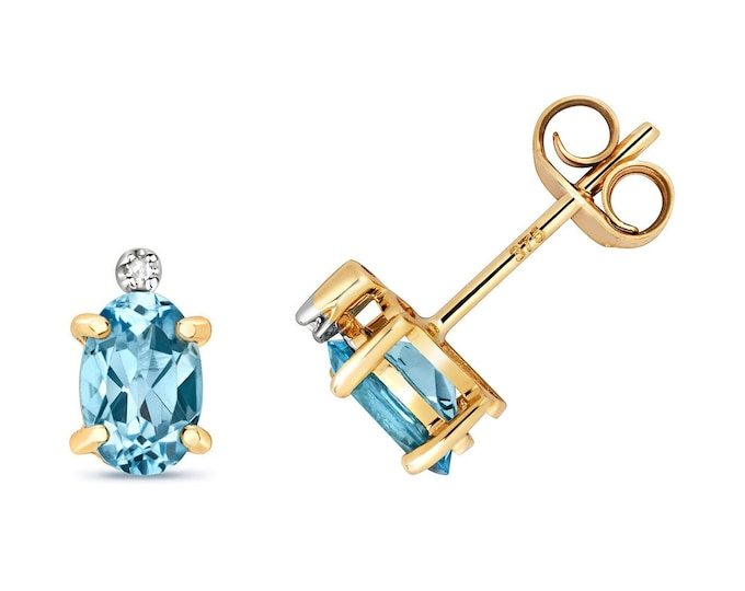 9ct Gold Diamond & Oval Cut 6x4mm 0.20ct Light Blue Topaz Stud Earrings - Real 9K Gold