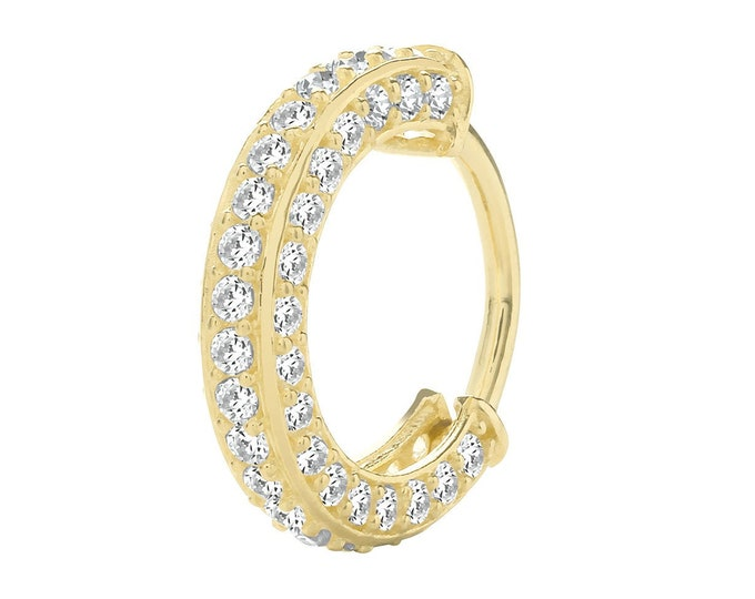 9ct Yellow Gold 8mm Diameter Pave Set Cz  Hinged Cartilage Single Hoop Earring