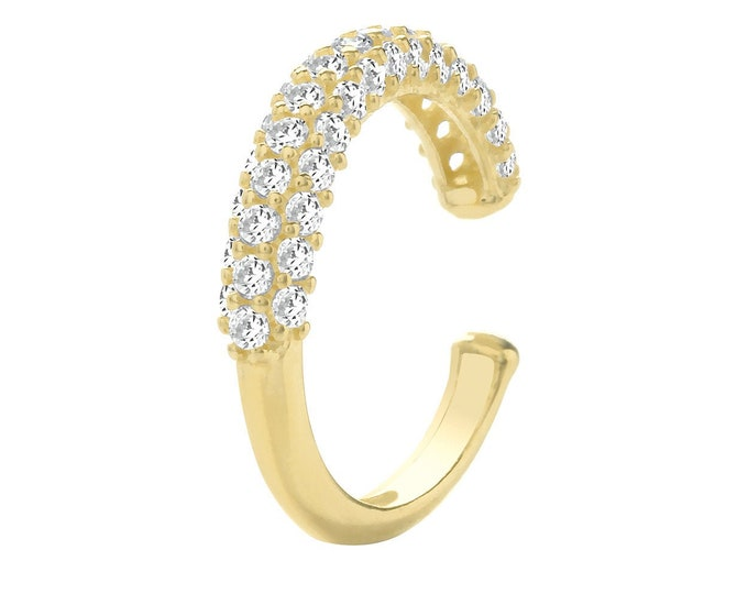 9ct Yellow Gold Half Pave Set Cz 8mm Cartilage Cuff Single Hoop Earring