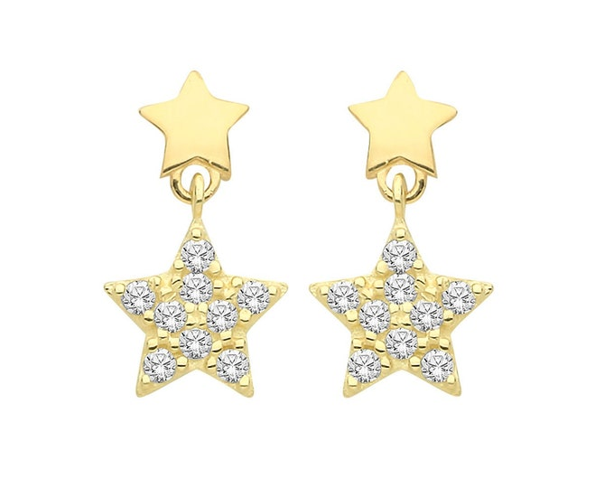 9K Yellow Gold Dainty Cz Pave Star Shaped Stud Drop Earrings