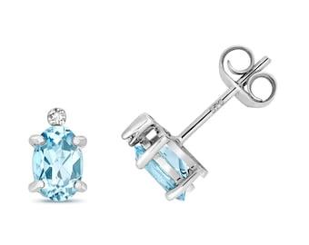 9ct White Gold Diamond & Oval Cut 6x4mm 0.16ct Light Blue Aquamarine Stud Earrings - Real 9K Gold