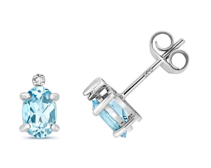9ct White Gold Diamond & Oval Cut 6x4mm 0.16ct Light Blue Aquamarine Stud Earrings - Real 9K Gold