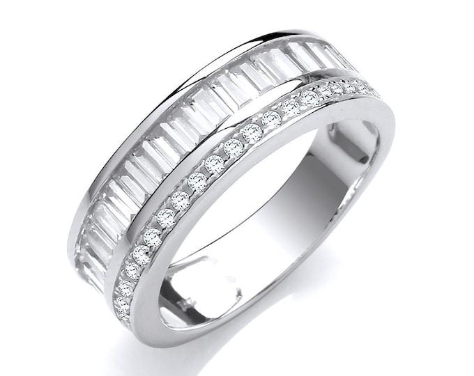 925 Sterling Silver Channel Set Half Eternity Baguette Cut Cz Ring