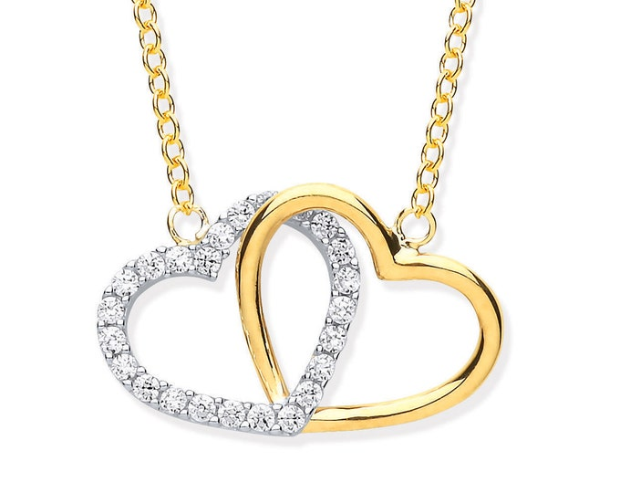 "Double Linked Lovers Hearts 16""-18"" Necklace 9ct Yellow Gold Pave Cz Stones"
