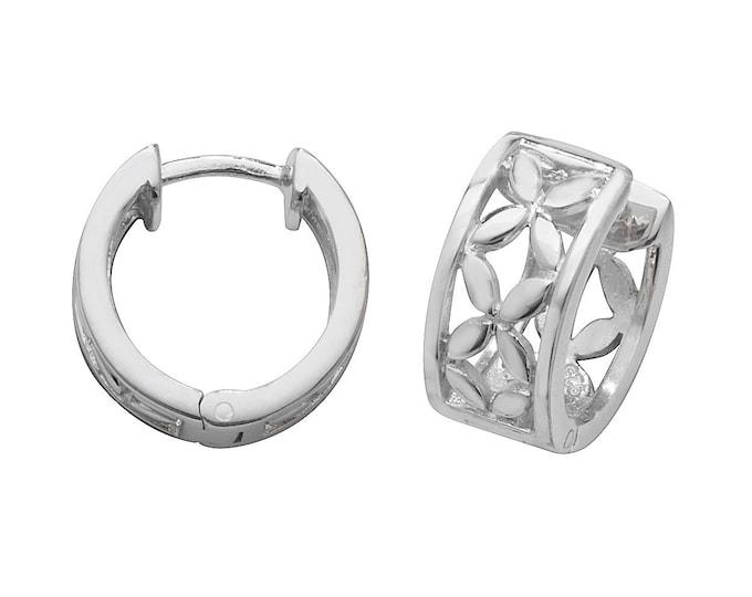925 Sterling Silver 15mm Diameter Cut Out Flower Hinged Huggies Hoop Earrings