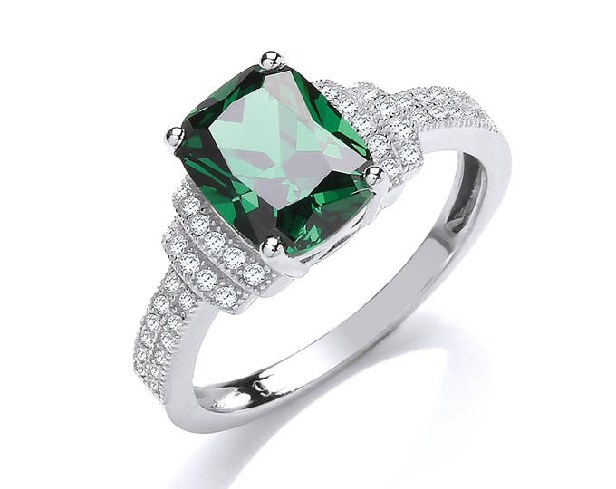 Emerald Cut Green Cz Centre Stone Art Deco Sterling Silver Ring With Pave Set Tiered Shoulders