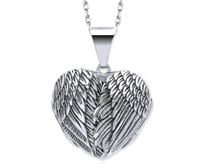 925 Sterling Silver Hinged Guardian Angel Wings Heart Shaped Locket