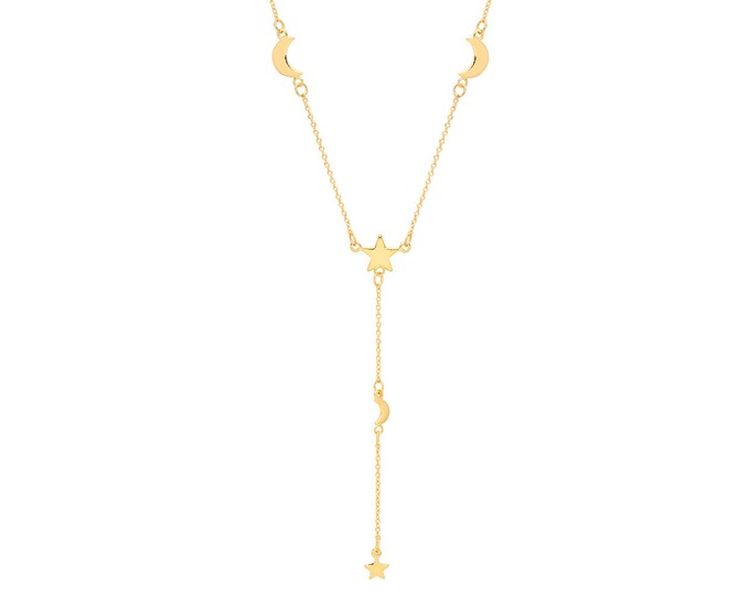 "Interstellar Moon & Star Link Charm 16""-18"" Lariat Necklace Yellow Gold Plated Silver"