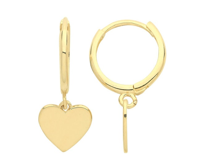 9ct Yellow Gold 10mm Hinged Hoop Earrings With Heart Drop Charm
