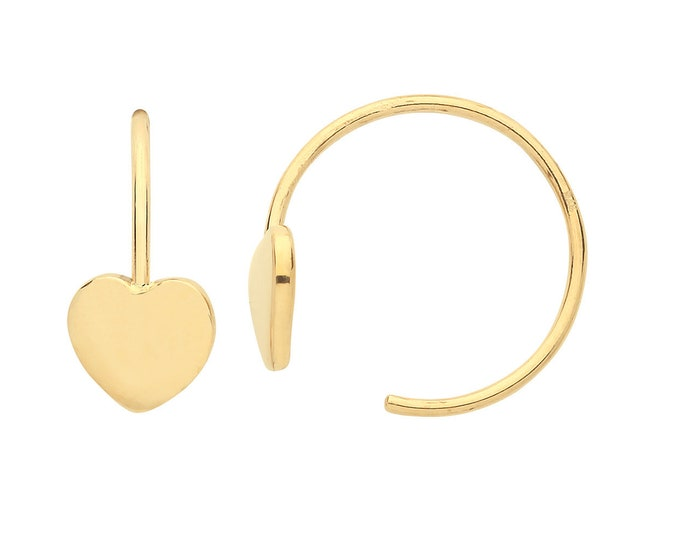 9K Yellow Gold 10mm Threader Hoop Earrings With 4mm Heart Charm - Real 9K Gold