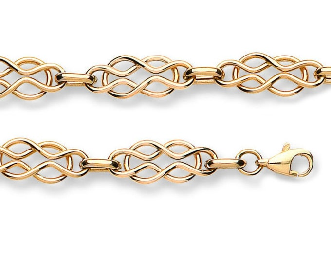 """Ladies 9K Yellow Gold Hollow Celtic Knot 7"""" Bracelet Hallmarked - Real 9K Gold"""