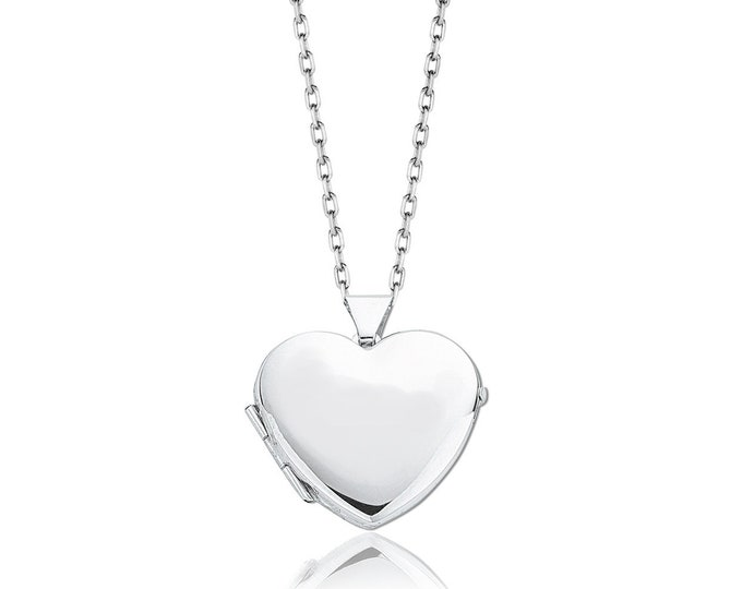 925 Sterling Silver Small 15mm Plain Polished Heart Shaped Locket