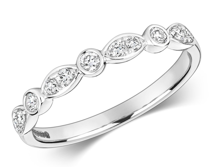 18ct White Gold 2mm 0.22ct Rubover Set Diamond Shaped Eternity Ring Hallmarked