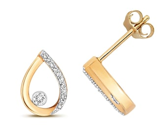 9ct Gold 0.09ct Diamond 7x5mm Pear Shaped Stud Earrings Rose Yellow White Gold