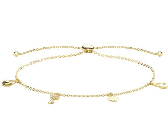 "Ladies 9ct Yellow Gold Key Padlock Heart Shamrock Charms Slider 7"" Friendship Toggle Bracelet"