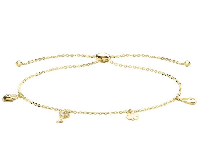 "Ladies 9ct Yellow Gold Key Padlock Heart Shamrock Charms Slider 7"" Friendship Toggle Bracelet - Real 9K Gold"