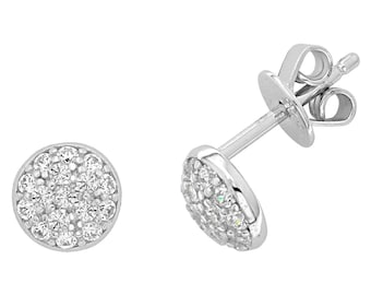 925 Sterling Silver 6mm Pave Cz Domed Button Stud Earrings