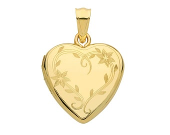 9ct Yellow Gold 16mm Floral Wreath Engraved 2 Photo Heart Shaped Locket Hallmarked - Real 9K Gold