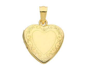 9ct Yellow Gold 15mm Floral Border Engraved 2 Photo Heart Shaped Locket Hallmarked - Real 9K Gold