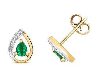 9ct Yellow Gold & Diamond 7x5mm Pear Cut 0.25ct Emerald Stud Earrings - Real 9K Gold