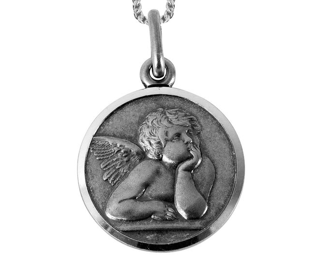 Your Guardian Angel Medallion Sterling Silver Necklace - Personalised Engraved Message