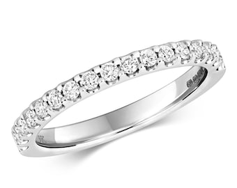 9ct White Gold 0.32ct Diamond Eternity Wedding Ring Hallmarked 2mm Band - Real 9K Gold