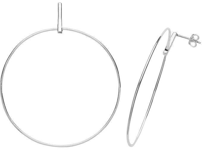 Contemporary 925 Sterling Silver Large 55mm Hoop Drop Earrings