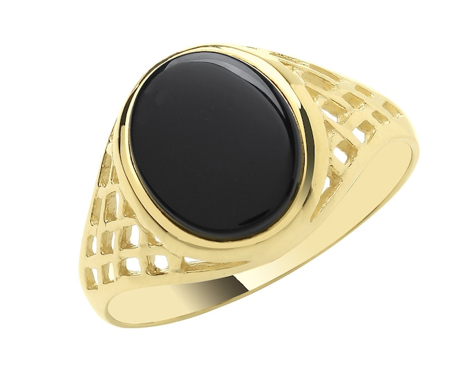 Men's 9ct Yellow Gold 12x10mm Oval Black Onyx Signet Ring With Basket Weave Sides - Real 9K Gold
